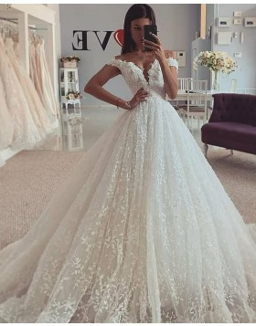Off the Shoulder Pleated Lace Ivory Wedding Gown