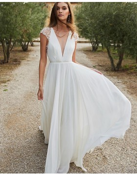 Deep V-neck Chiffon White Beach Wedding Dress with Lace Cap Sleeves