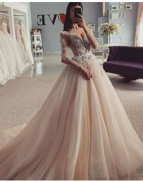 V-neck Beading Lace Bodice Champagne Pleated Wedding Gown with Long Sleeves