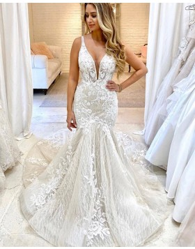 Deep V-neck Ivory Sparkle Applique Lace Mermaid Wedding Dress