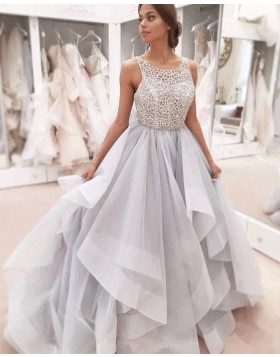 Scoop Grey Lace Sequin Bodice Ruffled Wedding Dress