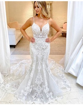 Spaghetti Straps Ivory Lace Mermaid Wedding Dress