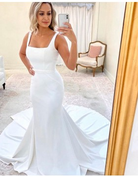 Simple Square Neckline White Mermaid Wedding Dress