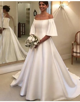 Off the Shoulder White Satin A-line Wedding Dress with Short Sleeves
