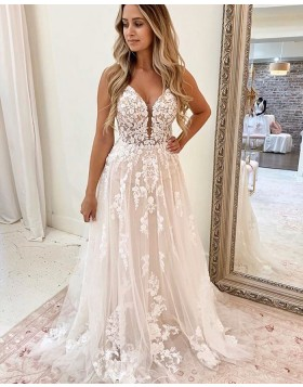 Spaghetti Straps Ivory Lace Applique A-line Wedding Dress