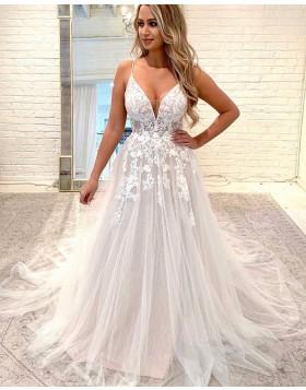Spaghetti Straps Lace Applique Sparkle Wedding Dress