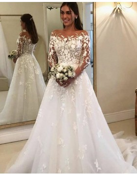 Bateau Neckline Lace Applique White Wedding Dress with Long Sleeves