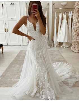 V-neck Lace Mermaid Wedding Dress with Detachable Train