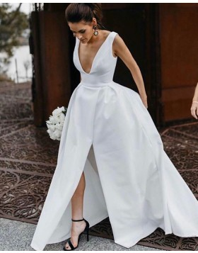 Simple V-neck Satin White Wedding Dress with Slit