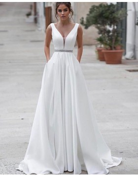 Simple V-neck White A-line Satin Wedding Dress with Pockets