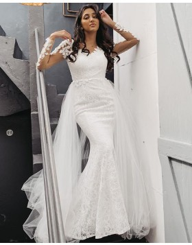 Long Sleeve V-neck White Lace Mermaid Wedding Dress with Detachable Tulle Train WD2401
