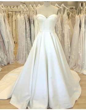 Simple Sweetheart Satin White Wedding Dress with Court Train WD2408