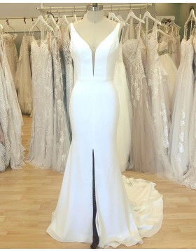 Simple White V-neck Satin Mermaid Wedding Dress with Middle Slit WD2409