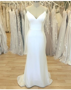 Simple White Spaghetti Straps Sheath Wedding Dress for Spring WD2410