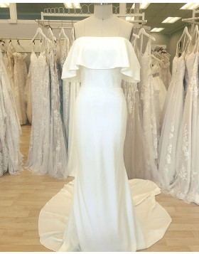 Simple Cowl Neckline White Satin Sheath Wedding Dress WD2411
