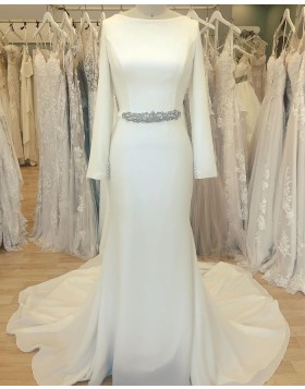 Simple Bateau Neckline White Satin Sheath Wedding Dress with Long Sleeves WD2412