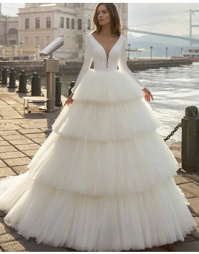 Simple White V-neck Ruffle Long Sleeve Wedding Dress with Layered Skirts WD2413
