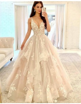 V-neck Ivory Ruffle Lace Applique Tulle Wedding Dress WD2415