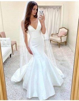 Simple Spaghetti Straps White Mermaid Wedding Dress WD2416