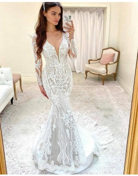 White V-neck Lace Mermaid Wedding Dress with Long Sleeves WD2418