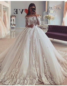 Off the Shoulder Lace Applique Ball Gown Wedding Dress WD2419