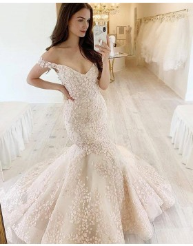 V-neck Ivory Lace Mermaid Wedding Dress WD2420