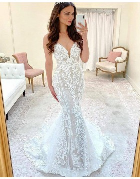 White Spaghetti Straps Lace Mermaid Wedding Dress with Court Train WD2421