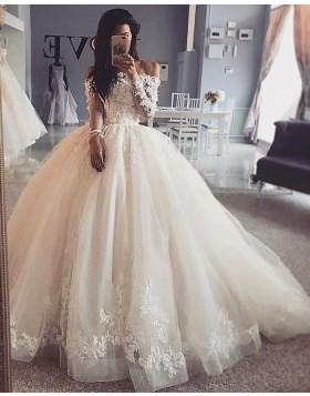 Off the Shoulder Ivory Lace Bodice Ivory Ball Gown Wedding Dress with Long Sleeves WD2422