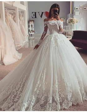 White Off the Shoulder Lace Applique Wedding Dress with Long Sleeves WD2424