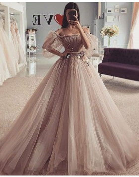 Off the Shoulder Brown Ruched Beading Tulle Wedding Dress WD2425