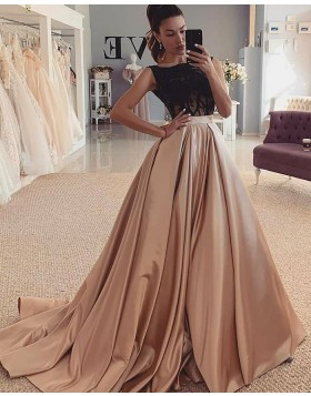 Jewel Neckline Satin Black & Brown Beading Bodice Evening Dress WD2427