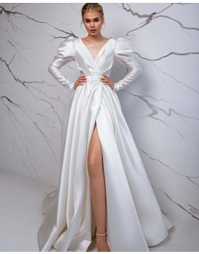 Vintage Simple V-neck Satin White Long Sleeve Wedding Dress with Slit WD2428