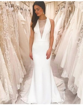 Simple Jewel Neckline White Sheath Wedding Dress with Court Strain WD2430