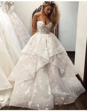 Sweetheart White Lace Ruffle Wedding Dress WD2431