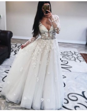White Tulle V-neck Pleated Wedding Dress with Long Sleeves WD2432