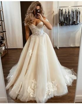 Off the Shoulder Ivory Tulle Applique Wedding Dress WD2433