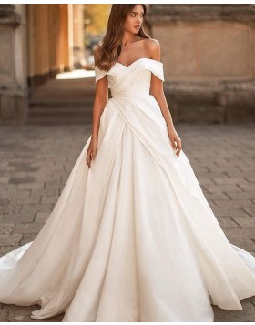 Simple Off the Shoulder White Ruched Satin Wedding Dress WD2434