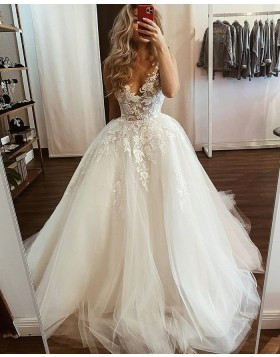 V-neck Lace Applique Tulle White Wedding Dress WD2435