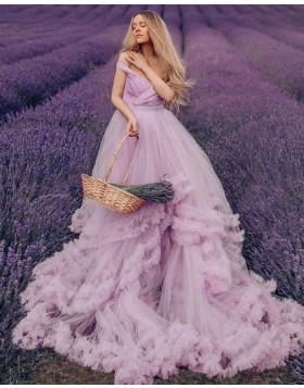 Lavender V-neck Ruched Tulle Tiered Feather Wedding Dress WD2437