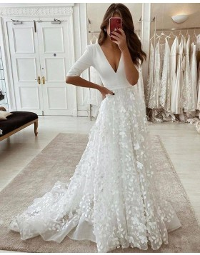 White V-neck Handmade Flower Wedding Dress with Half Length Sleeves WD2438