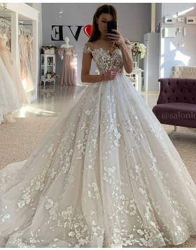 Elegant Ivory Off the Shoulder Lace Applique Wedding Dress WD2439