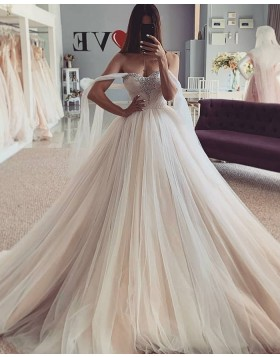 Champagne Beading Bodice Tulle Wedding Dress with Flutter Sleeves WD2440