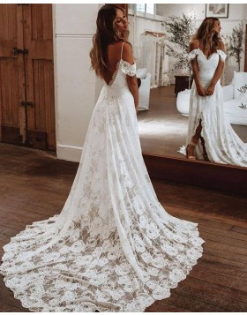 Cold Shoulder White Lace Wedding Dress with Middle Slit WD2443