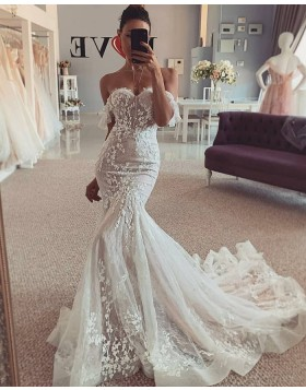 Off the Shoulder Lace Ivory Mermaid Wedding Dress WD2444