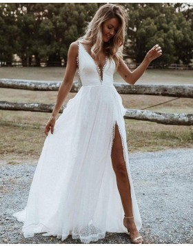 Simple V-neck Lace White Beach Wedding Dress with Side Slit WD2445