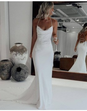 Simple Halter White Mermaid Wedding Dress with Court Train WD2446