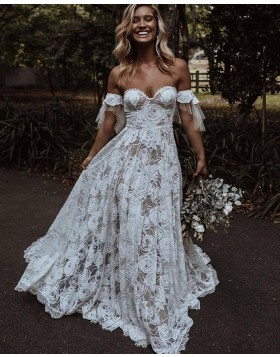 A-line Ivory Off the Shoulder Lace Wedding Dress WD2447