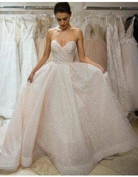 Elegant Sweetheart Ruched Blinking Sequin Wedding Dress WD2449