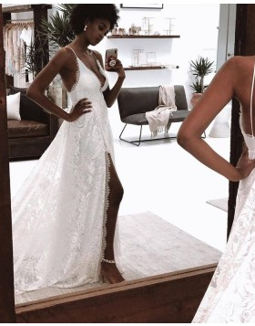 Spaghetti Straps White Lace Wedding Dress with Side Slit WD2450