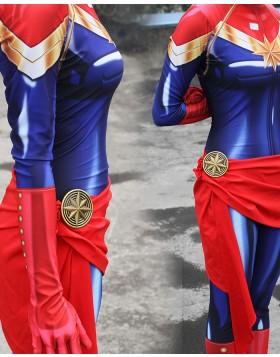 Captain Marvel Costume Super Hero Cosplay Jumpsuit for Women